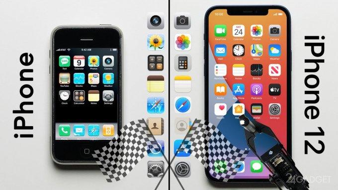 Первый iPhone 2G и iPhone 12 соревновались в скорости (видео)